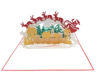 Santa Clause Delivering Presents 3d pop up card