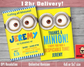 Minions invitation with FREE Thank you Card! Despicable Me Invitation, Minion Card Printable, Minions Birthday Party, Minions Printable.