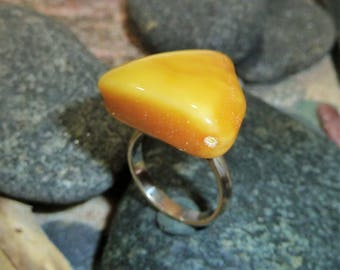 Silver Ring with Natural Baltic Amber.