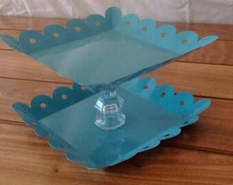 Blue Enameled Metal Dish