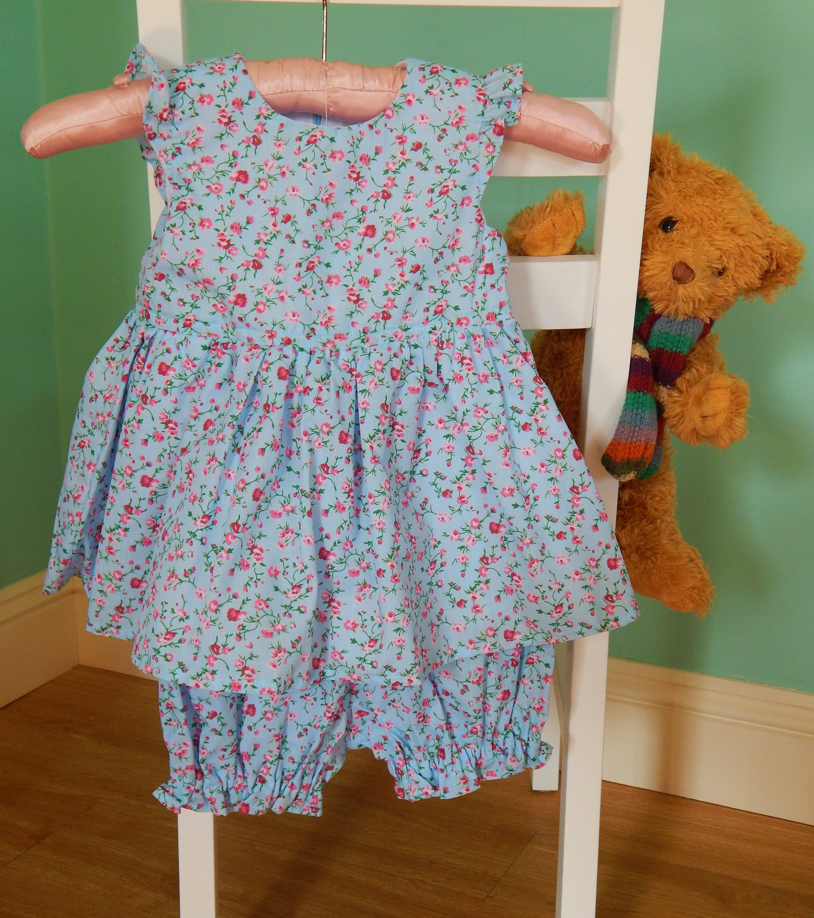 Baby Dressblue With Pink Flowersmatching Panties
