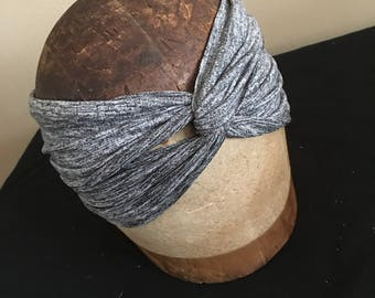 Boho Twist Adult Headband Space Dye Grey