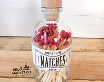 Burgundy Tip Colored Matches Match Sticks Decorative Glass Bottle Farmhouse Home Decor Unique Gifts for her Best Seller Most Popular Item