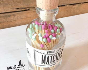 Mint & Fuchsia Tip Colored Matches Mix Match Sticks Decorative Glass Bottle Farmhouse Home Decor Unique Gifts Best Seller Most Popular Item
