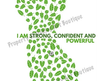 """Printable """"I am strong, confident and powerful"""" health quote A2 poster"""