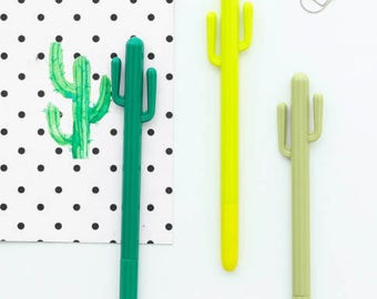 Set of 3 cactus gel pen.