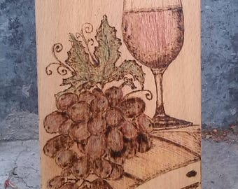 Red grape - pyrography on wood;home decoration;gift for dear friend