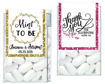 Glitter Tic tac labels, tic tac favors, mint favors, mint to be favors, bridal shower favors, engagement favors,  gold silver Wedding favors