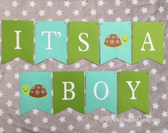 """Turtle Themed Baby Shower Banner """"Its a boy"""""""