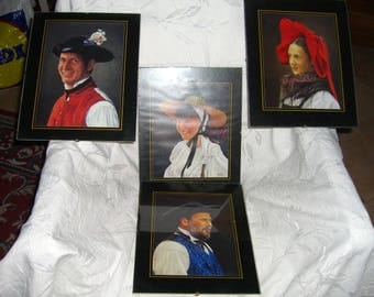 8 frames with pictures of alsace folk costumes