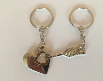 Keychain, gift for couple, heart and arrow