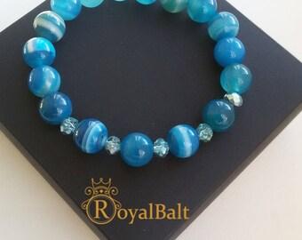 Agate stone beaded bracelet.