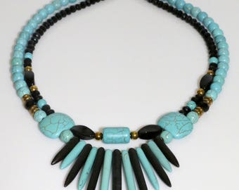 Turquoise and brown, Layered necklace, Beaded necklace, Ethnic necklace, Ethnic jewelry, Double strand, Short necklace, Double necklace