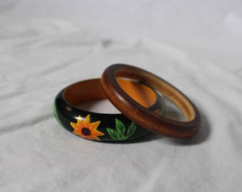 Set Of Vintage Wooden Bangles (X2)