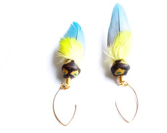 Ara Ararauna Parrot feather dangle earrings