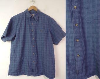90s Territory Ahead Blue Shirt Mens Medium, Textured Shirt, Short Sleeve Shirt, Button Front Shirt, Summer Shirt, Blue Button Down, 90s