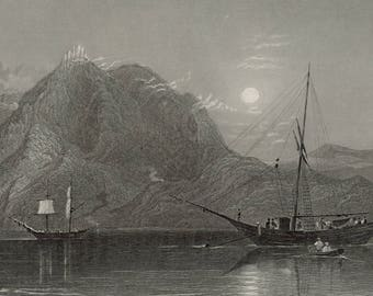 Mount Casius, from the Sea, Syria 1841 - Old Antique Vintage Engraving Art Print - Mountain, Sea, Boats, Ships, Sun, Sky, Fishermen, Sailing