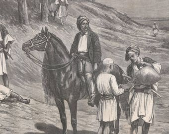 The Ambush, Syria 1880 - Old Antique Vintage Engraving Art Print - Men, Boy, Pitcher, Horse, Sword, Forest, Hill, Waiting, Sitting, Trees