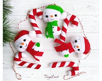 Snowman Xmas Garland Holiday Decor Christmas Decorations Candy Cane Garland Christmas Tree Garland Handmade Decor Xmas Gift Felt Party Decor