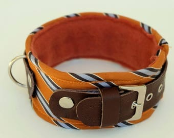 Dog collar/dog collar orange-grey striped-dog collar