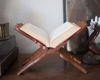 Hand carved book holder
