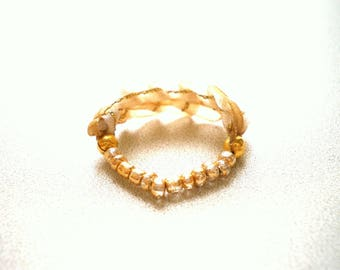 RING TEXTILE MACRAME WHITE AND GOLD