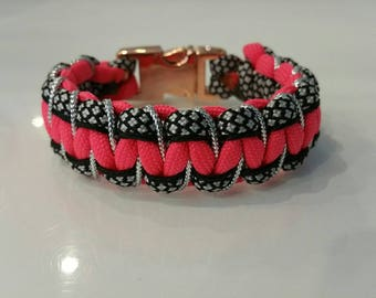 Bracelet in 4 colors Paracord and silver metal clipped buckle