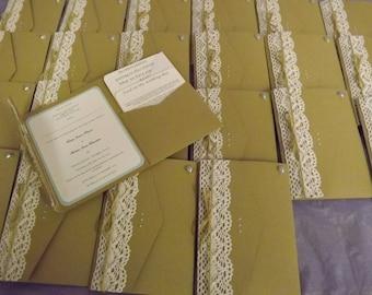 1 x Pocketfold sample Wedding Invitations Kraft, lace design