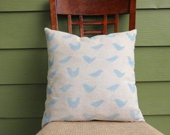 Blue Bird Pillow Cover Linen Pillow Cover exposed brass zipper hand sewn block printed pillow housewarming gift for mother exposed zipper