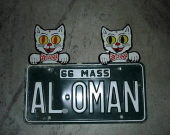 COOL CAT License Plate Toppers Vintage Car Accessory