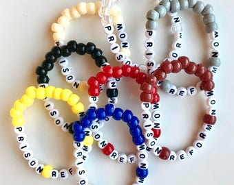 Prison Reform Now Bracelet, Bead Bracelet, Handmade, Activist Support, Prison Reform