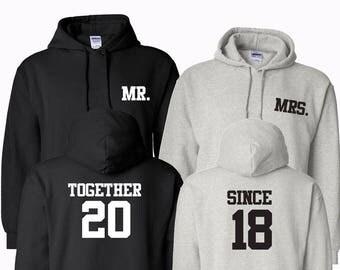 Custom Hoodie Couples Mr and Mrs Hoodie Wedding Honeymoon Gifts Wedding Gift Custom Customizable Hooded Sweater Sweatshirt Personalized