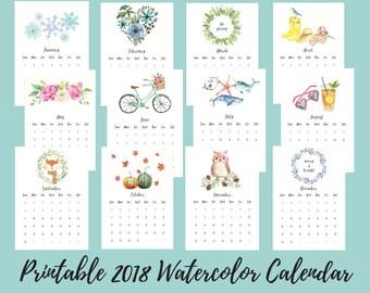 Printable 2018 Watercolor Calendar