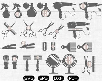 Hairdresser Svg, Hairstylist Clipart, Monogram Frame cricut, cameo, silhouette cut files commercial & personal use