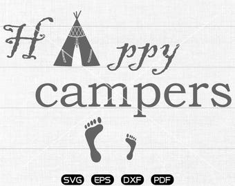 Happy campers svg Files, Happy campers Clipart, cricut, cameo, silhouette cut files commercial & personal use