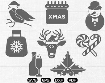 Santa Claus Clipart , Bird, Christmas reindeer, Sweet, Calendar Svg, cricut, cameo, silhouette cut files commercial & personal use