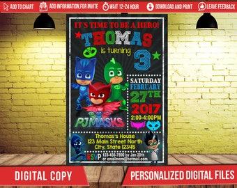 Pj Mask Invitation, Pj Masks, Pj Masks Birthday, Pj Masks Birthday Invitation, Pj Masks Party Invitation, Pj Masks Printable, Pj Masks