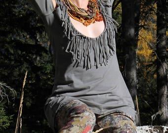 """""""Cheyenne"""" fringed cotton jersey tunic"""