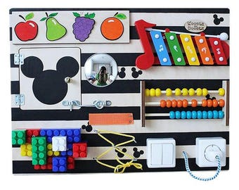 Busy Board , Activity Board, Sensory Board, Montessori educational Toy, Fine motor skills board for toddlers & babies