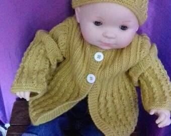 Cardigan, bonnet and booties