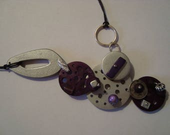 Necklace purple and silver