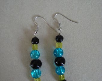 Black green blue beaded dangling earrings