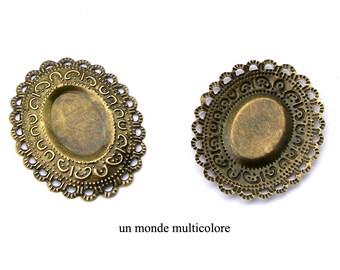 3 connector filigree openwork oval bronze 4. 2 cm x 3.7 cm
