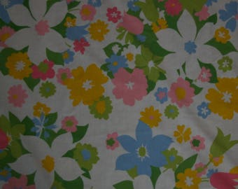 Vintage Monticello Pink Yellow Blue Floral Twin Flat Bed Sheet or Fabric USA Mod