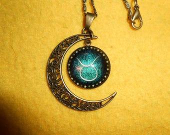 Cresent moon Taurus zodiac necklace