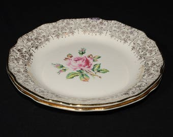 Mid-century (c.1950s), DOMINION CHINA, BRIARD rose, 2, small, plate, vintage, U.S.A., Pink roses, 22k gold floral chintz, salad plate, bread