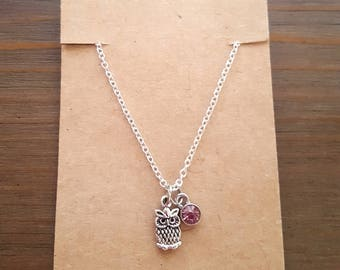 Silver Owl Pendant Necklace, Owl Necklace, Owl Jewelry