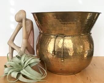 Large Brass Floor Planter, Brass Planter, Large Planter, Floor Planter, Indoor Planter, Brass Plant Pot, Vintage Planter, Metal Planter,