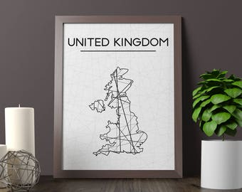 United Kingdom Map, United Kingdom Wall Art, Great Britain Art, Great Britain Poster, Great Britain Room Decor, England Print