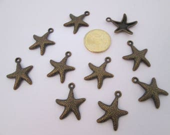10 breloque étoile de mer en métal bronze 23 X 19 mm